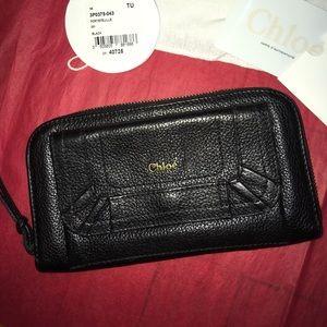 Authentic gently used black calfskin Chloe wallet
